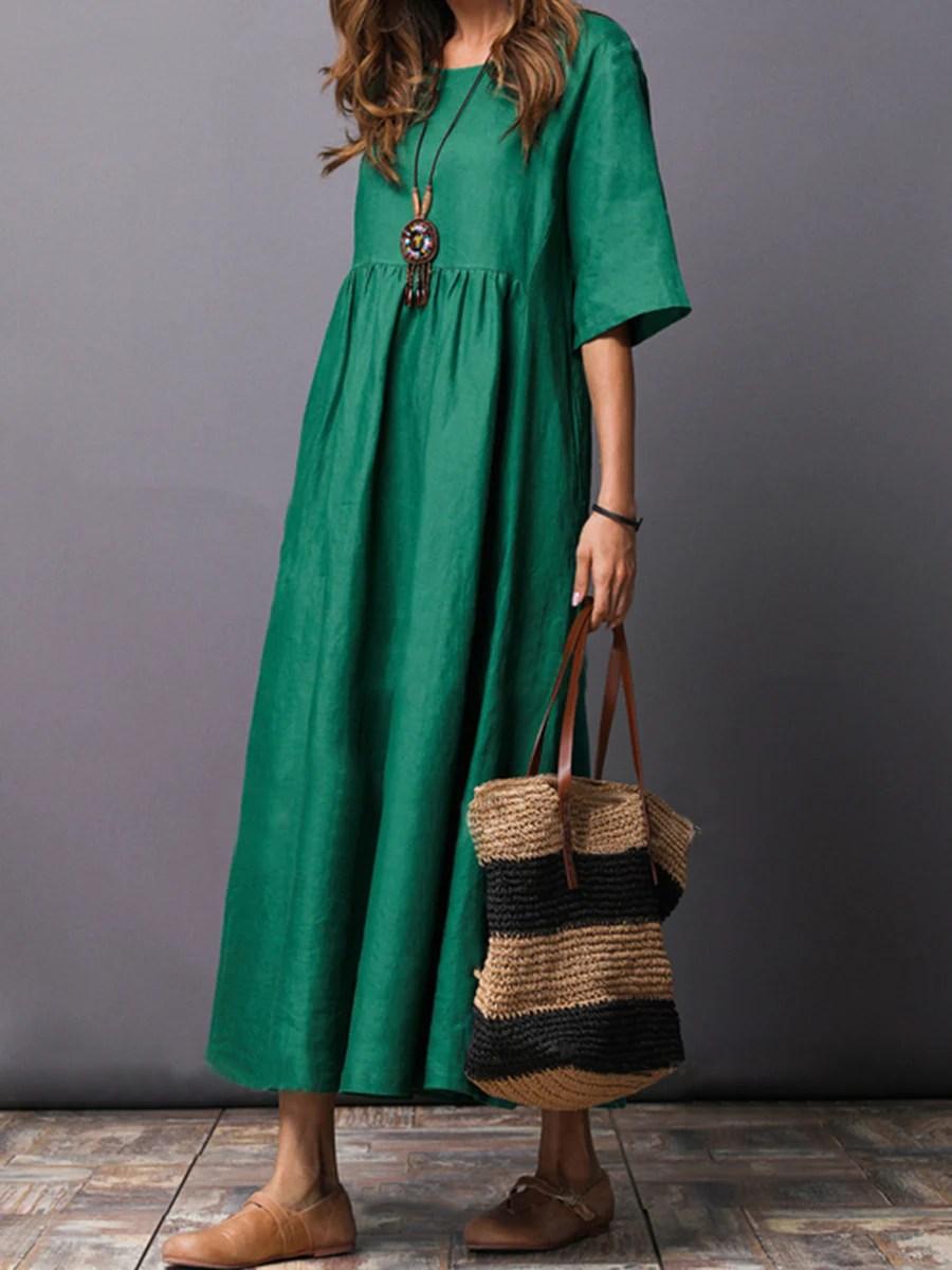Plain Round Neck Cotton Linen Maxi Dress