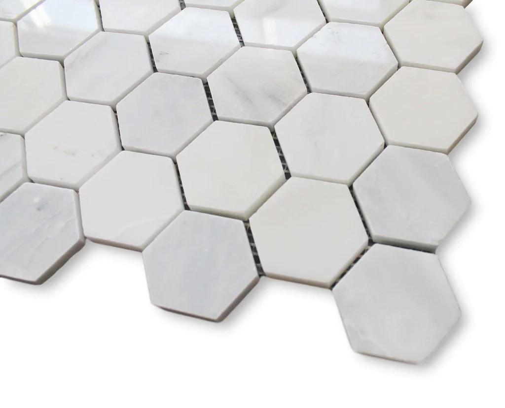 bianco carrara marble 2 inch hexagon mosaic tiles