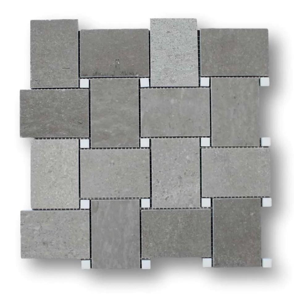 arctic grey basketweave marble mosaic tile