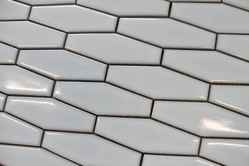 atlanta elongated 3d hexagon mosaic tiles white