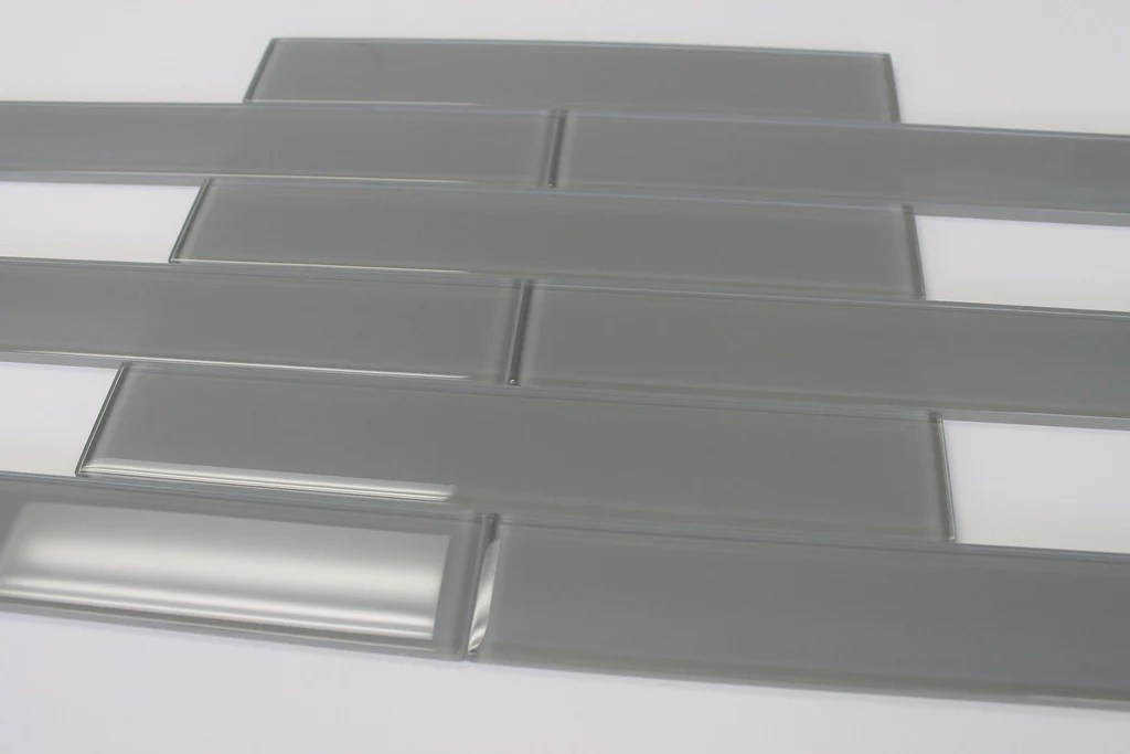 pebble grey 2x12 glass subway tiles