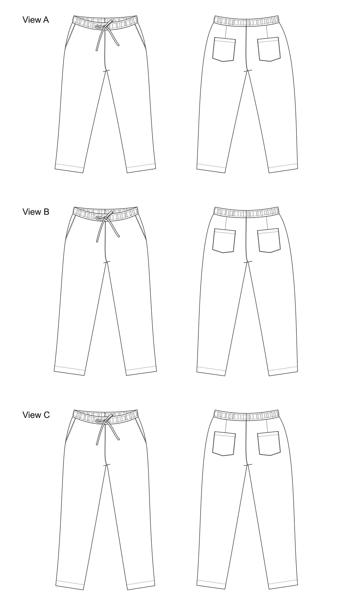 Line drawing of the Fremantle Pants.
