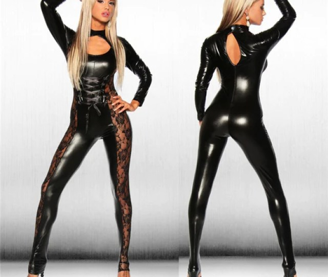 Black Leather Jumpsuit Bamgage Costumes Spandex Erotic Fetish Catsuit Latex Faux Pvc Leather Jumpsuit Clubwear Lace
