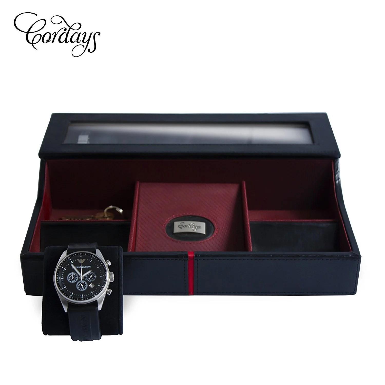 Deluxe Watch Box  Desk Valet in Black Genuine Leather