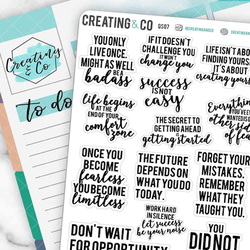 inspirational quote planner stickers
