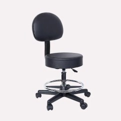 Rolling Stool Chair Desk Dropping Height Adjustable Black Hydraulic With Back Footrest Wheels For Massage Office Medical