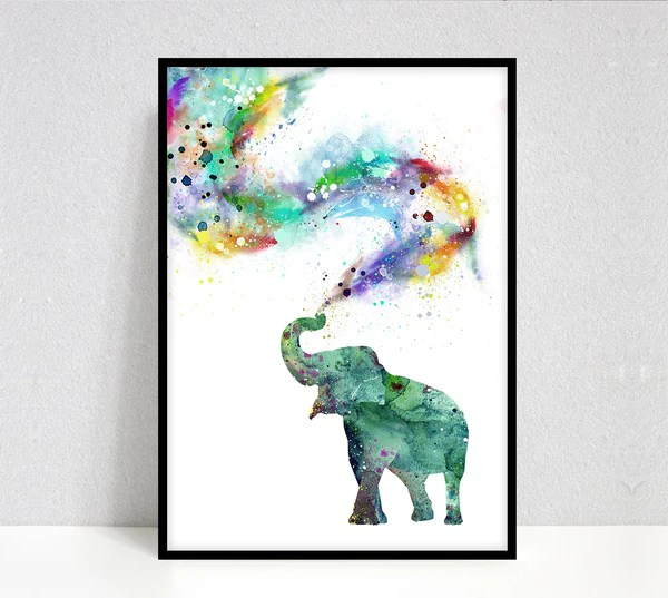 elephant watercolor painting print