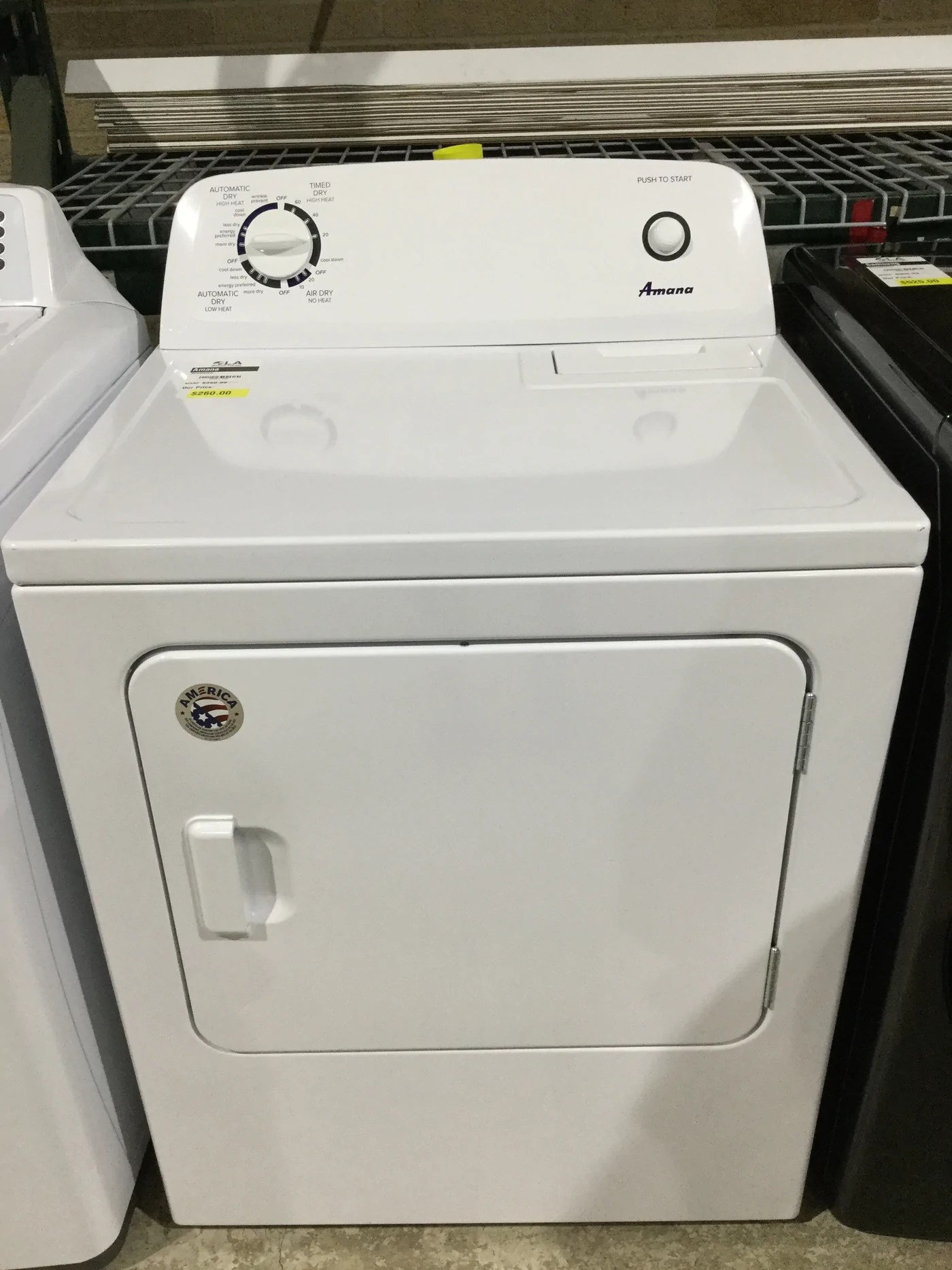 hight resolution of amana ned4655ew 6 5 cu ft 240 volt white electric vented dryer