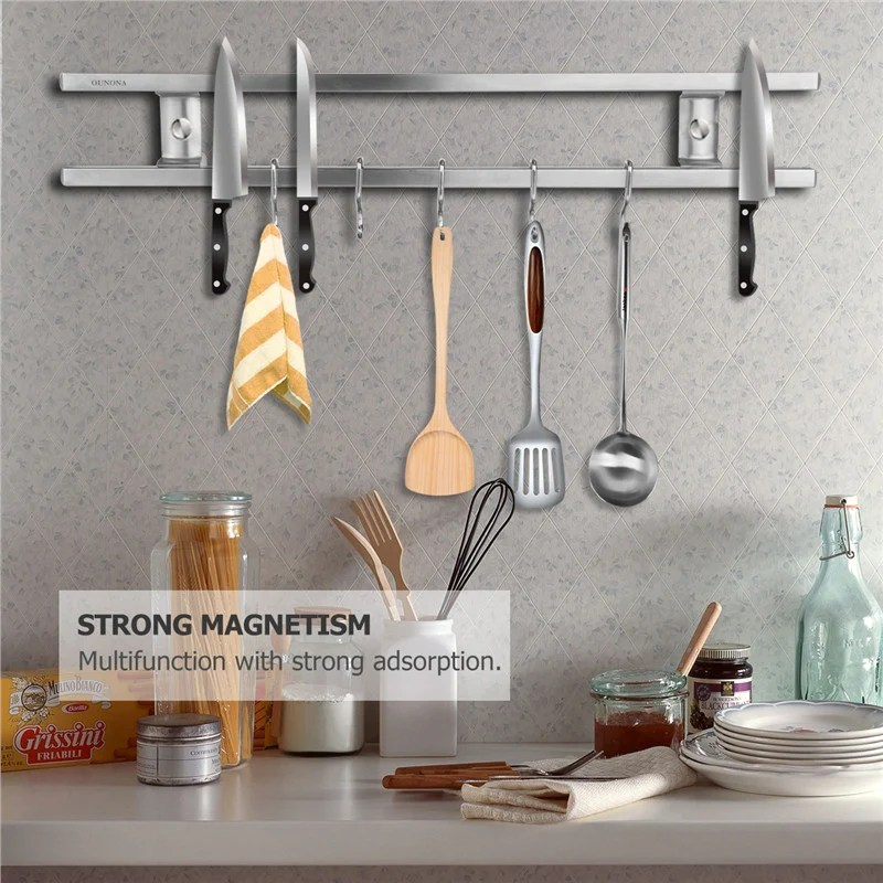 kitchen utensil rack cabinets pictures wall mounted magnetic double bar knife utensils