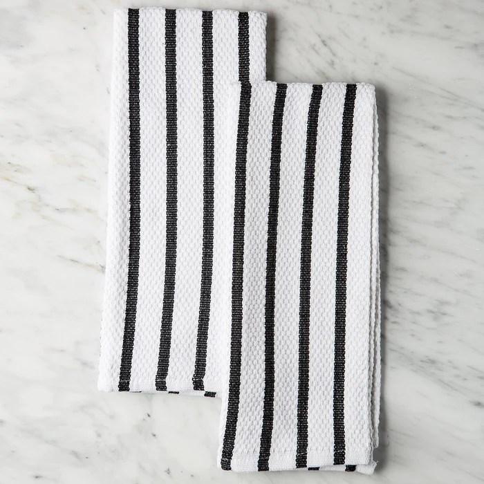 kitchen linens cottage style cabinets black striped cotton towels pair maison midi