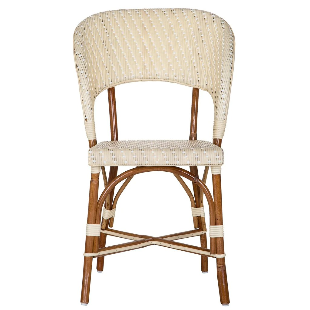 White Bistro Chairs Cream And White Mediterranean Bistro Wrap Back Chair H