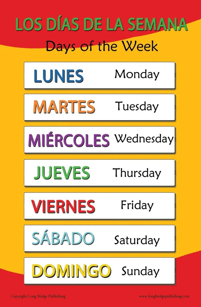 Spanish language school poster days of the week wall chart for home  long bridge publishing also rh longbridgepublishing