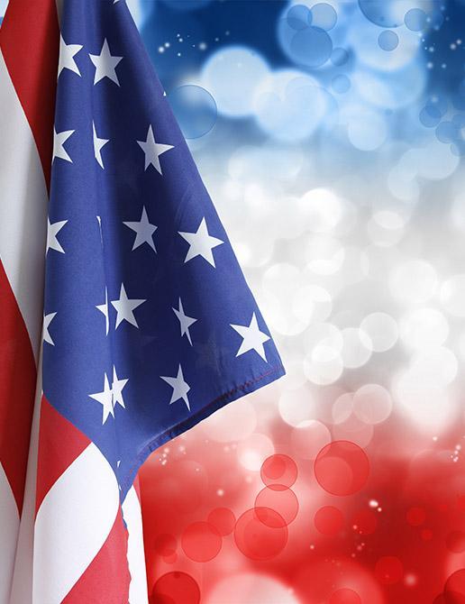 american flag with bokeh