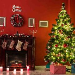 Beautiful Living Rooms At Christmas Red Leather Room Furniture Set With Decorated Tree Backdrop J 0143 Shop