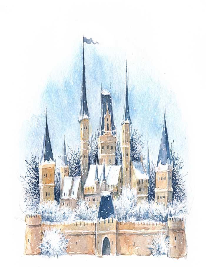 Medieval Castle Painting : medieval, castle, painting, Painted, Watercolor, Winter, Medieval, Castle, Photography, Shopbackdrop