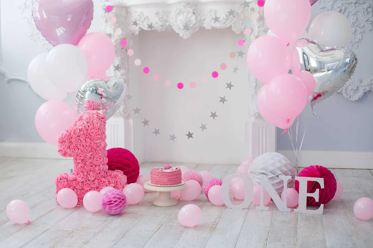Pink Balloons And Fireplace For Baby 1 Birthday Photo
