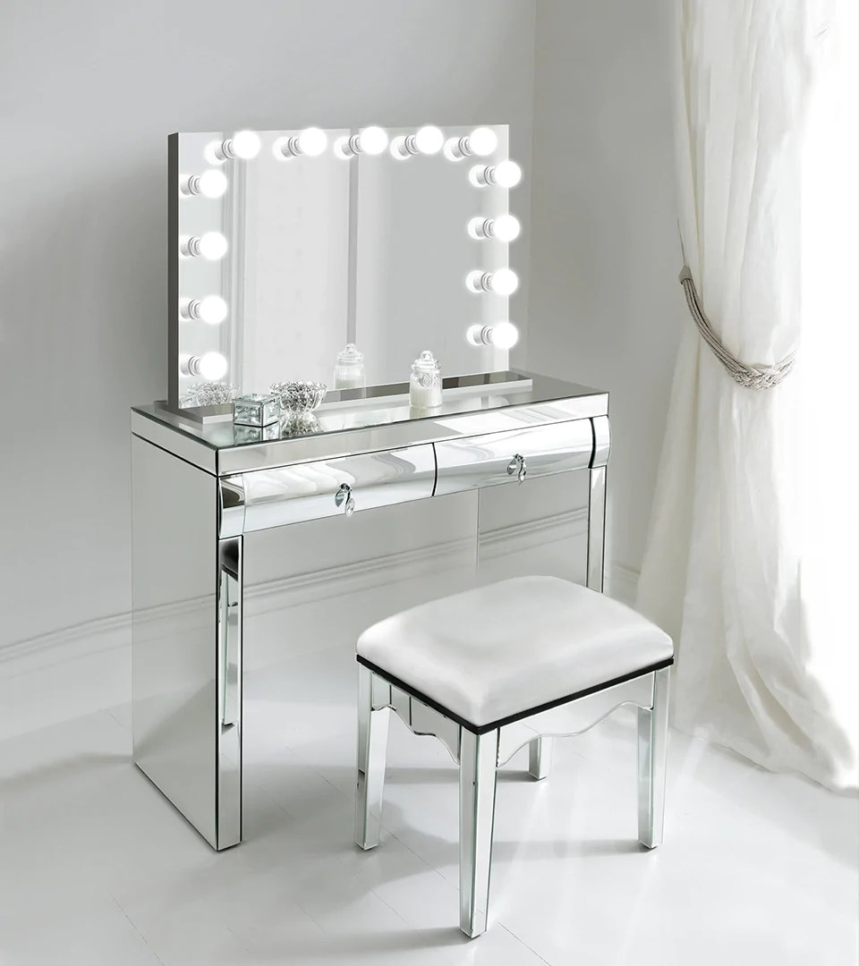 Monroe White Makeup Glam Led Hollywood Mirror Mirrors