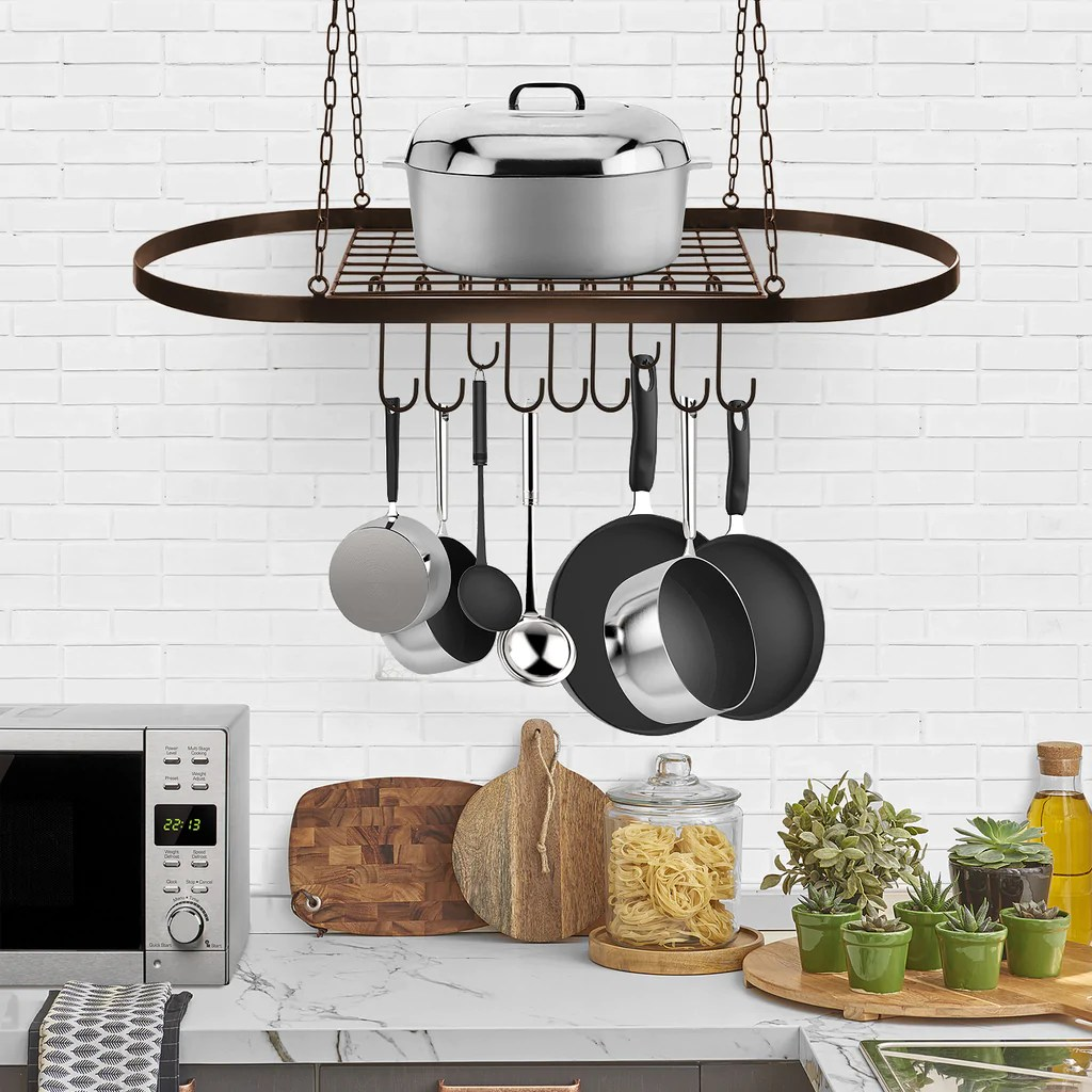 pot and pan rack for ceiling with hooks