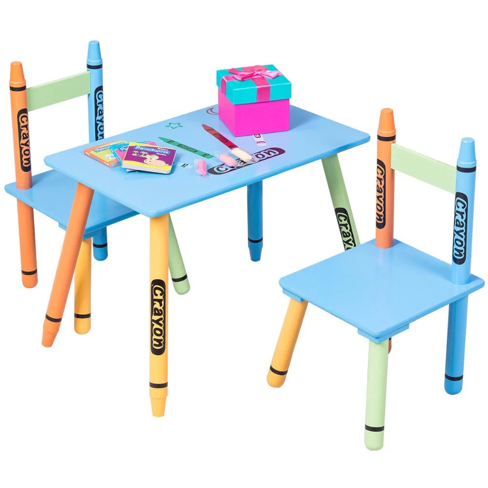Table With Chairs 3 Piece Kids Crayon Table And Chair Set