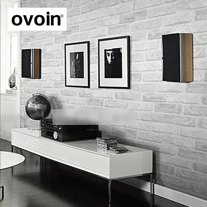 wallpaper living room wall floating shelf on vintage rustic grey white brick roll bedroom dinning covering modern 3d