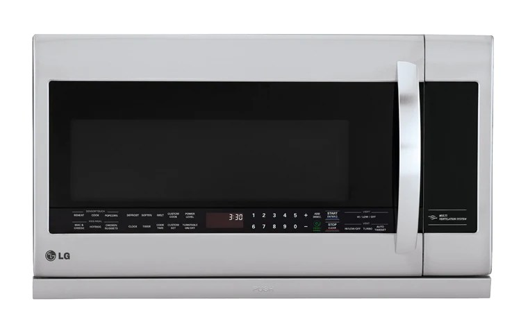 lg lmv2257st 2 2 cu ft large capacity over the range microwave with 2nd generation slide out extendavent and easyclean interior in stainless steel