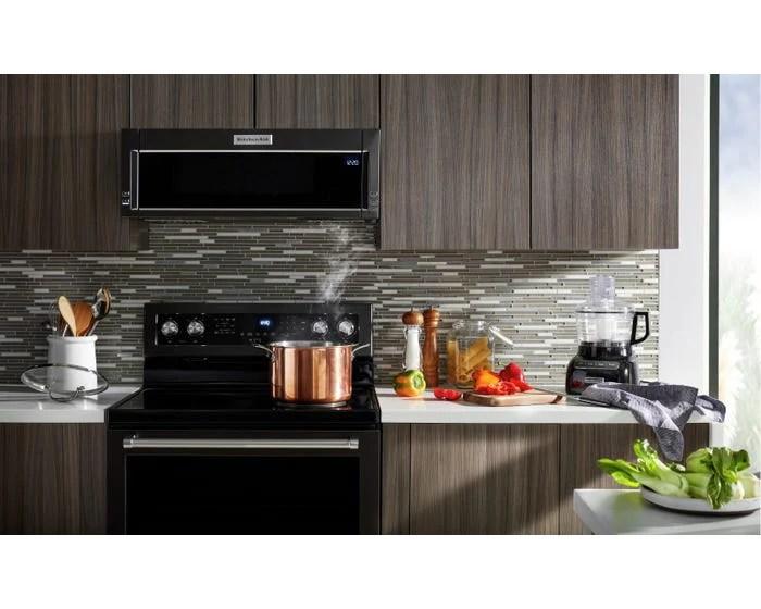 kitchenaid ykmls311hbs 1000 watt low profile microwave hood combination in black stainless steel with printshield finish