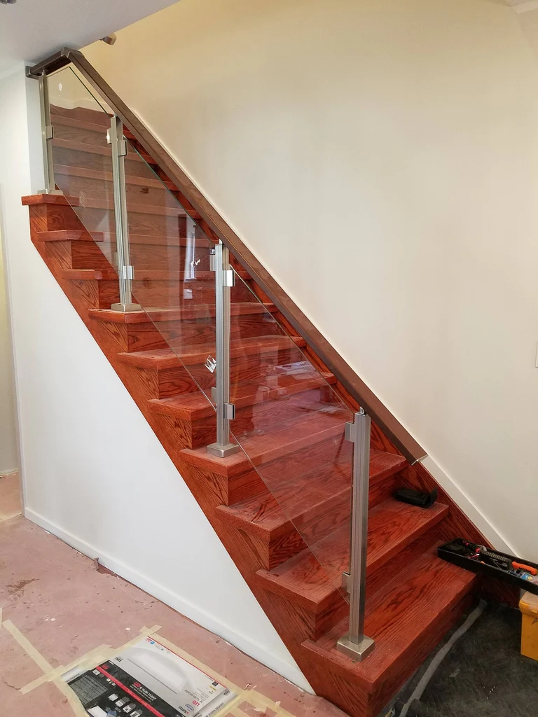 Modern Square Aluminium Balcony Stair Railing Kit Without Glass | Glass Handrails For Stairs | Wood | Frameless | Outside | Standoff | Residential