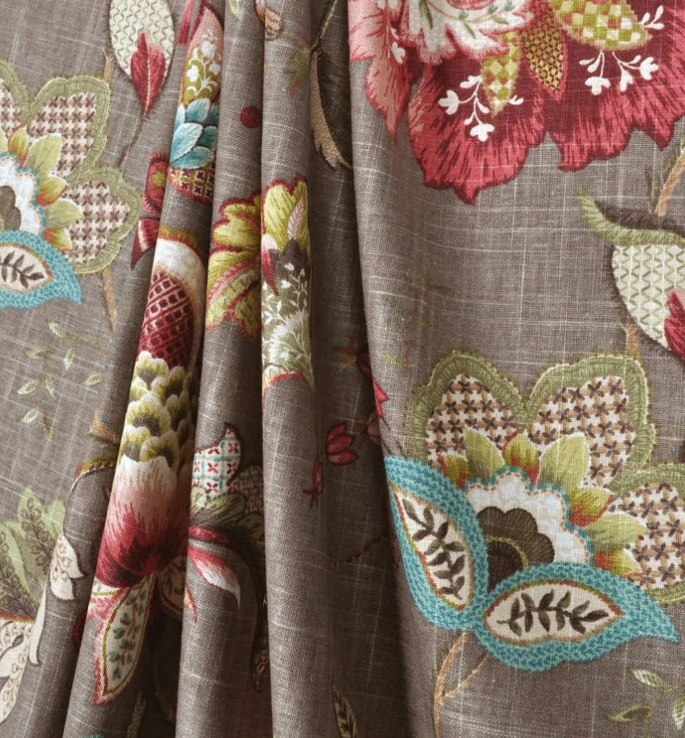 Curtain Panels Grey Green Pink Red Brown Modern Floral
