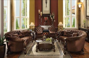 oval sofa extra long deep sofas versailles 4pcs brown velvet cherry oak finish set 2 chairs