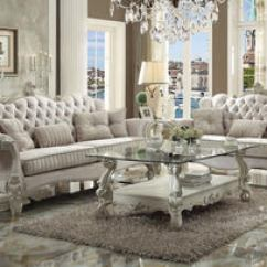 High Back Sofa And Loveseat L Shaped Sectional Dimensions Versailles 2pcs Ivory Velvet With Bone White Finish Set