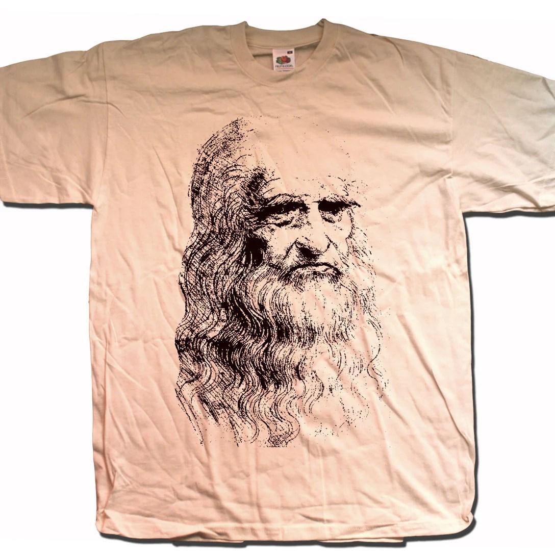 Leonardo Da Vinci T Shirt Self Portrait Sketch Art T Shirts From Old Skool Hooligans