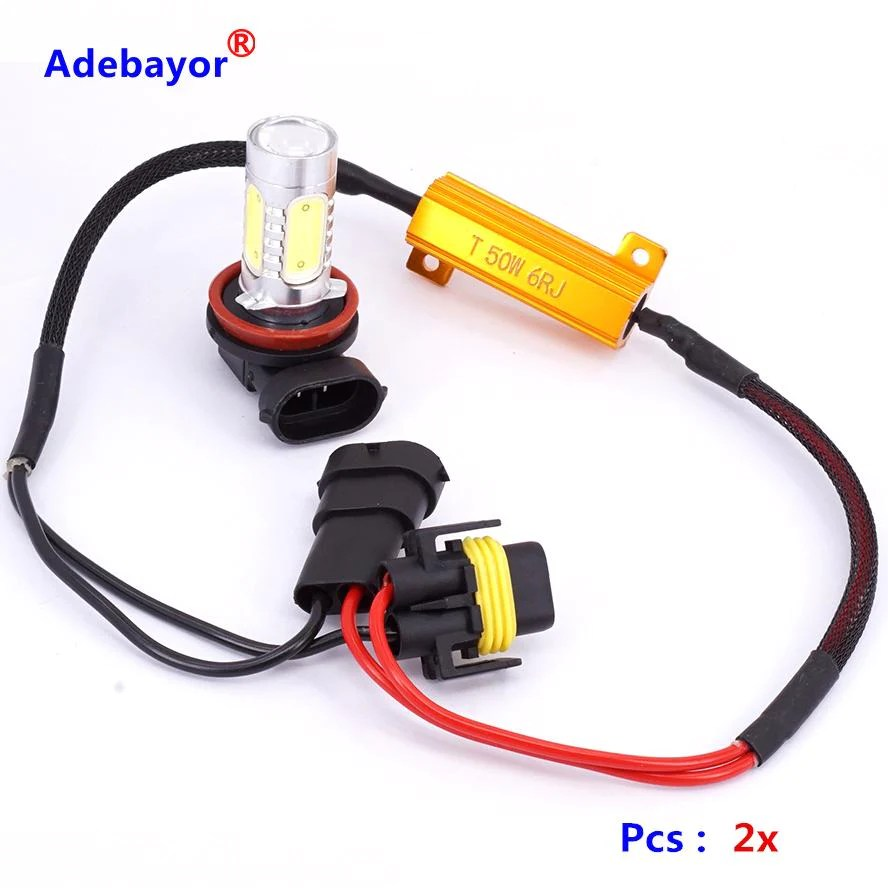2pcs h11 led decoder resistor canbus wire harness adapter dc12v for led headlight fog drl lamp [ 888 x 888 Pixel ]