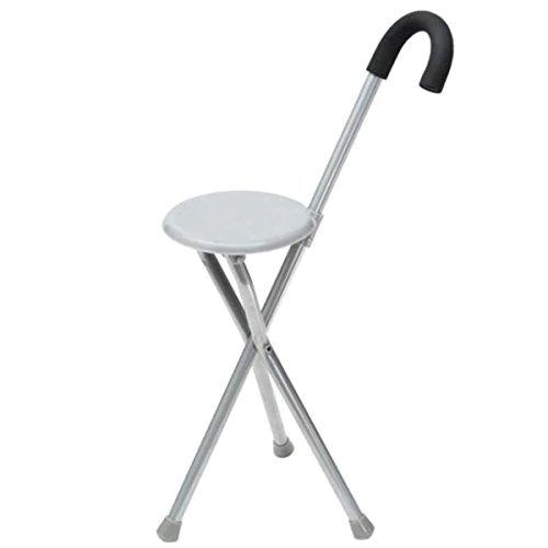 walking stick chair ozark camping chairs folding massage tripod stool travel cane seat for old people gray