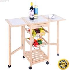 Kitchen Trolley Cart Decoration Ideas Colibrox Portable Rolling Wood Drop Leaf Storage Drawers Rack Basket