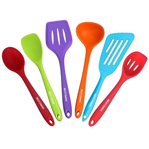 kitchen utensil set remodel tucson silicone cooking utensils 6 multicolor