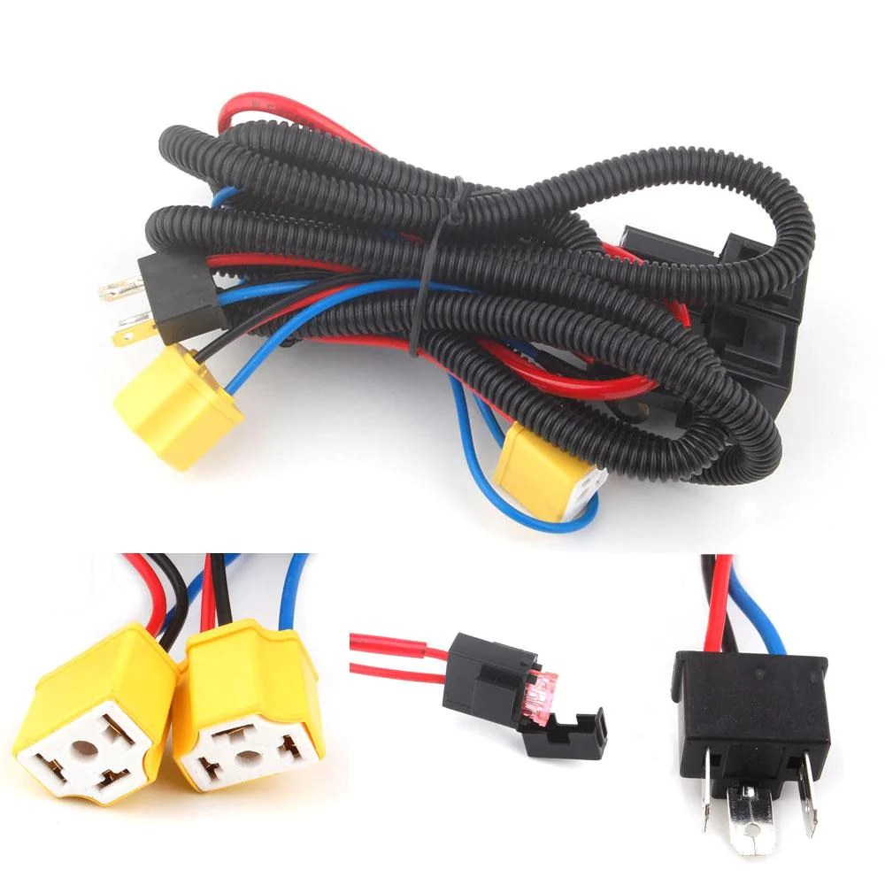 bbq fuka h4 headlight fix dim light harness system 2 headlamp light bulb fit for [ 1000 x 1000 Pixel ]