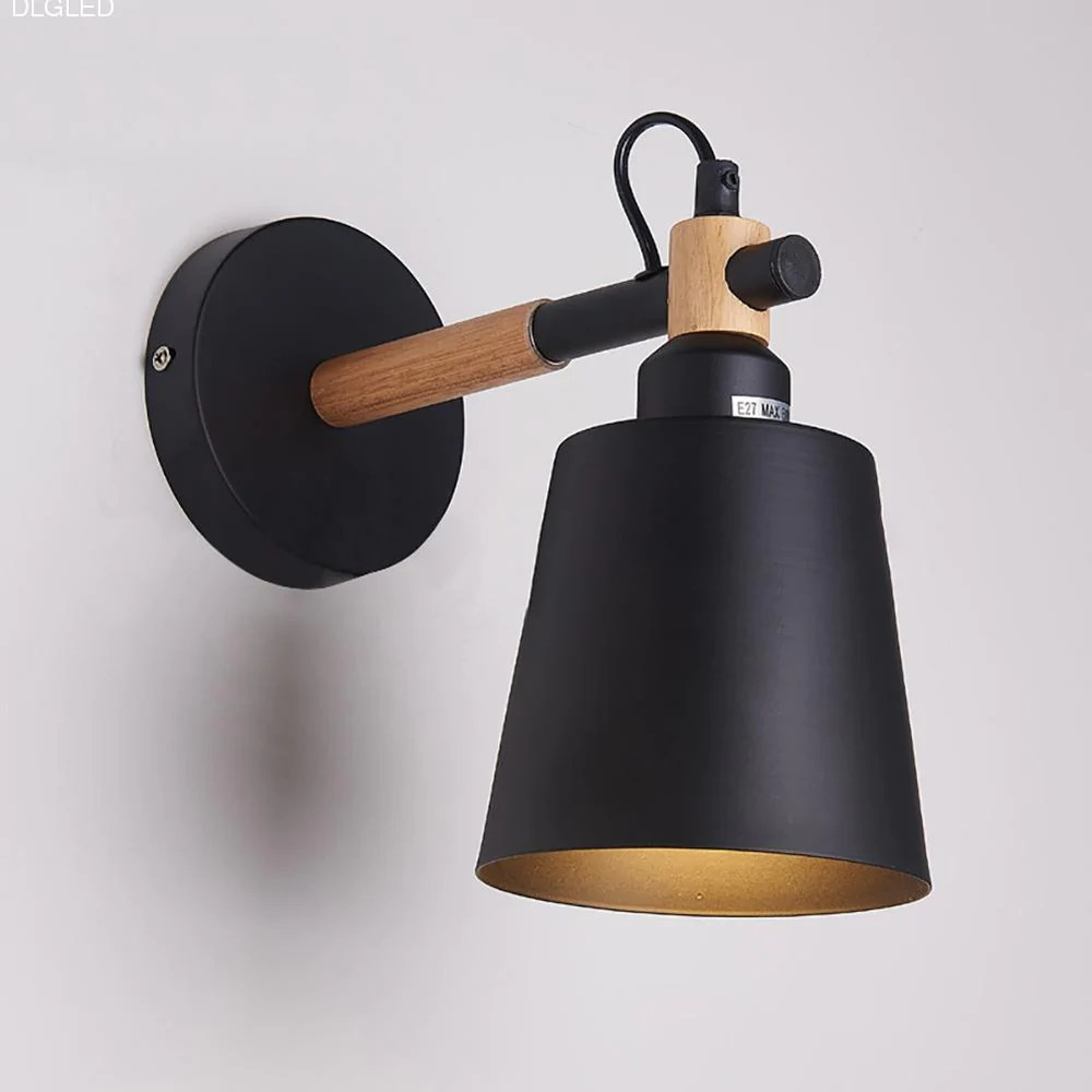 living room wall lamps designs with blue couch laideyi nordic creative wood lamp led bedroom lights hallway bedside light sconce