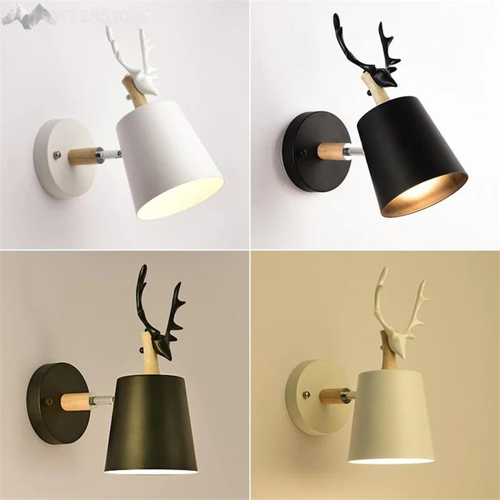 wall lamps for living room how to decorate a large with pictures nordic deer head bedroom bedside lamp tv light aisle