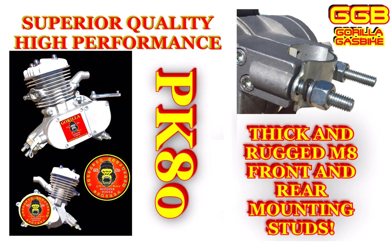hight resolution of  monster high power 2 stroke pk80 motorized bike engine with high compression head
