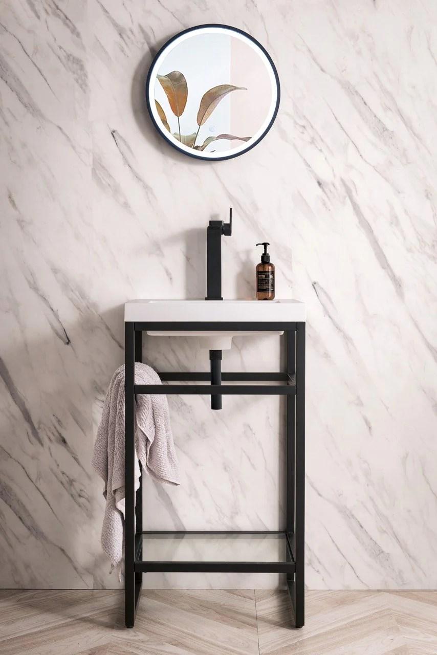 Boston 20 Stainless Steel Sink Console Single Bathroom Vanity Matte