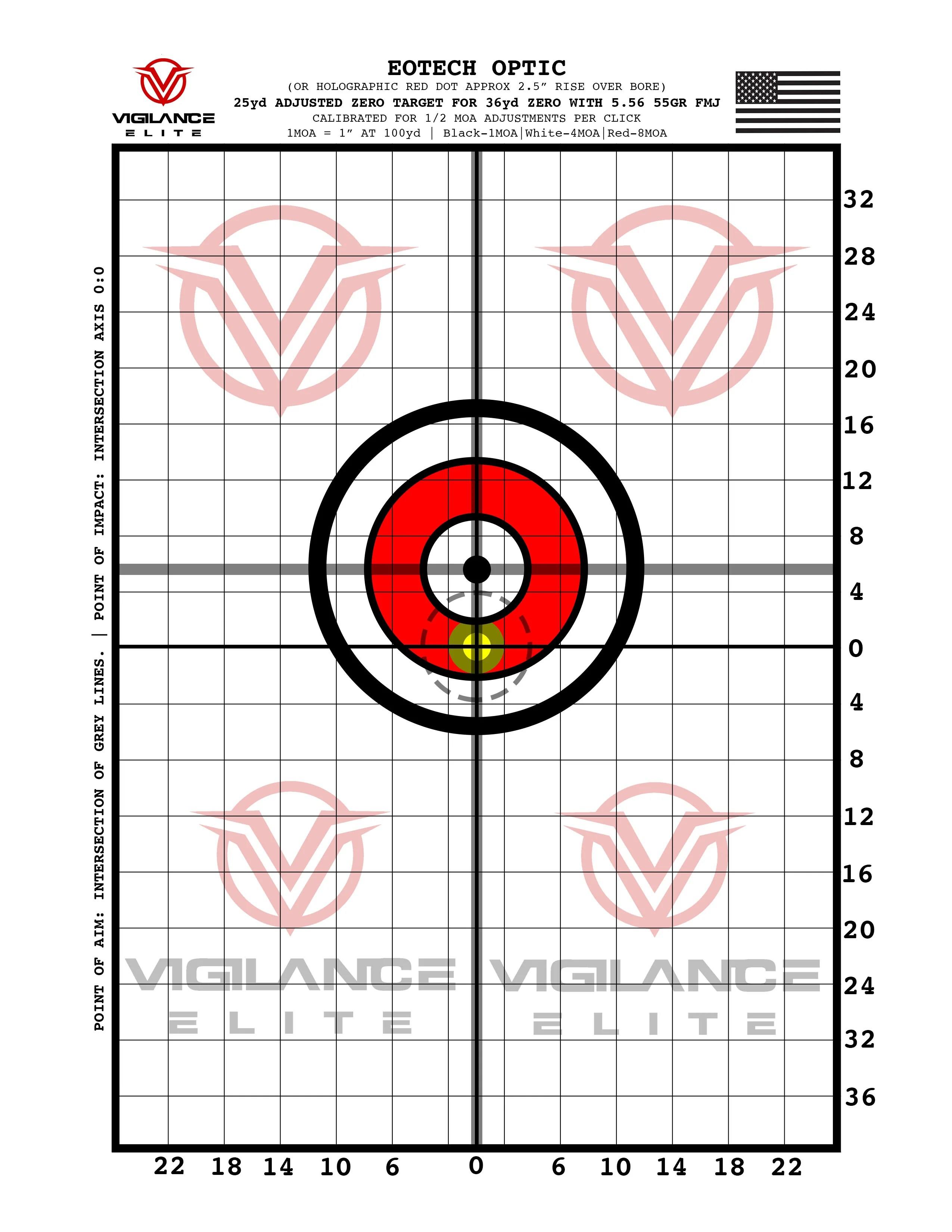 hight resolution of printable 36yd zero target