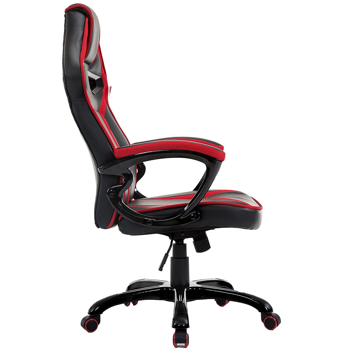 Red Desk Chair Ctf Racing Style Gaming Pu Leather Swivel Desk Chair With Fabric Trim Red