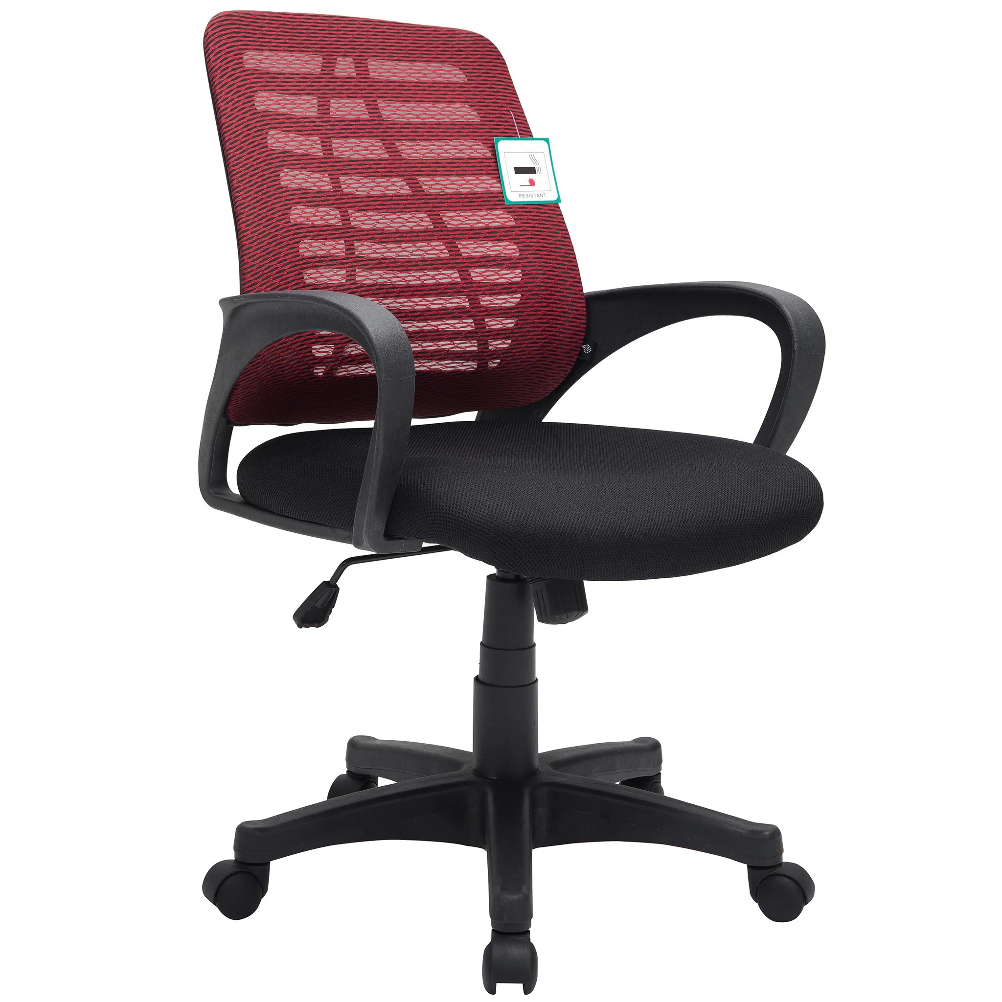 Cheap Computer Chair Mesh Fabric Padded Swivel Office Chair Computer Desk Chair Dark Red Black