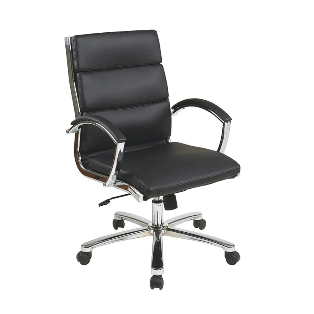 Executive Leather Chair Mid Back Executive Black Faux Leather Chair
