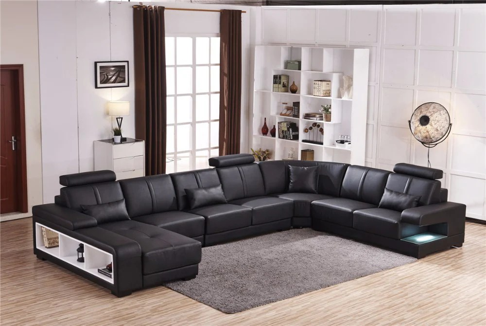 nico black leather sectional collection