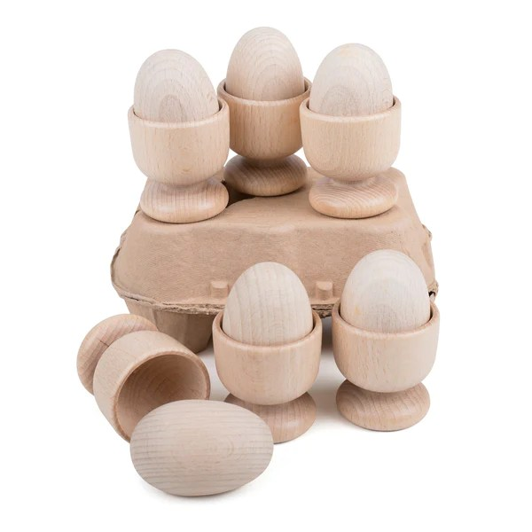 wooden eggs and cup