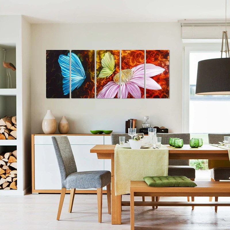 metal wall art decor for living room design with black leather sofa colorful butterfly grace large modern flower sculpture set of 5 panels
