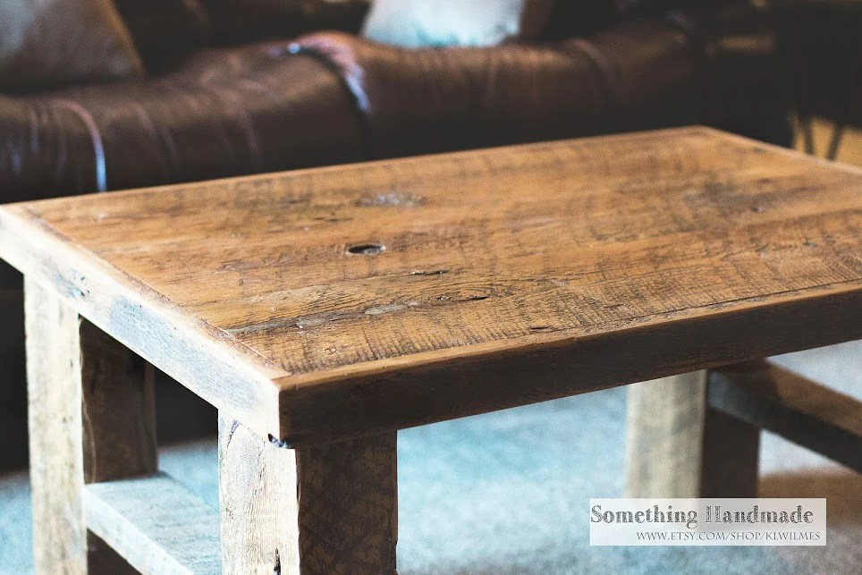 barn wood coffee table made from 1800s reclaimed barn wood