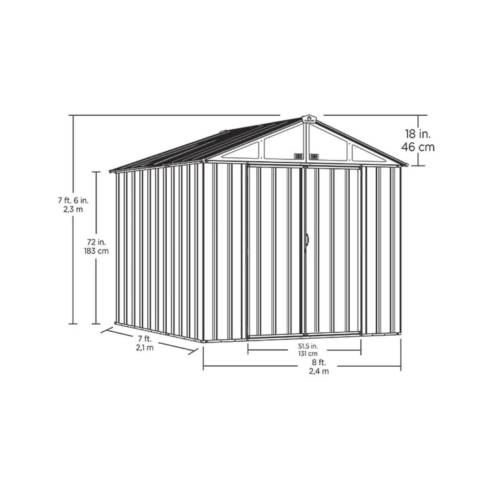 arrow ezee shed high gable steel storage shed charcoal 8 x 7 ft  [ 1275 x 1650 Pixel ]