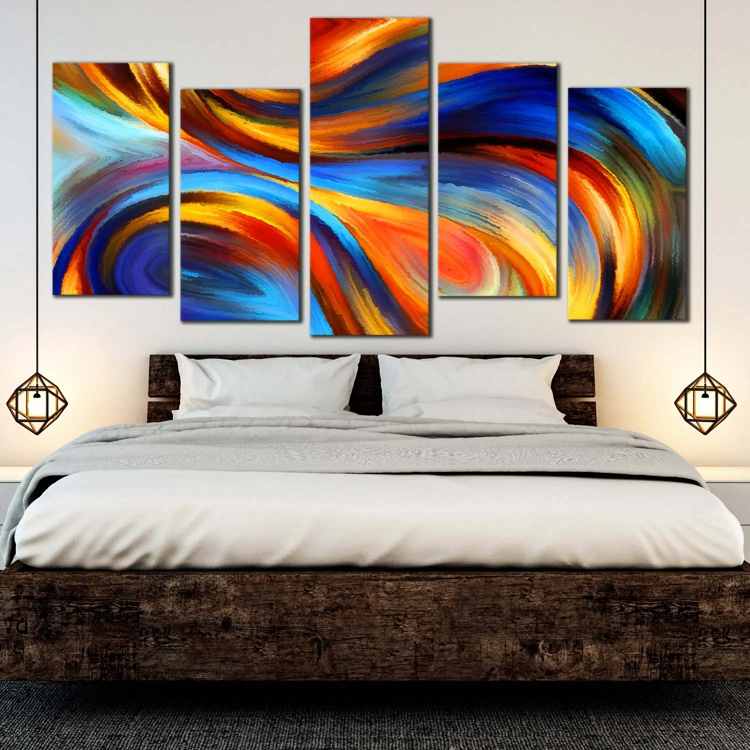 5 Piece Wall Art Rainbow Waves Abstract Multi Panel Home